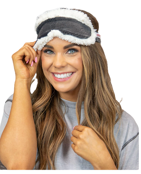 Grey Plaid Sherpa Lined Sleep Mask