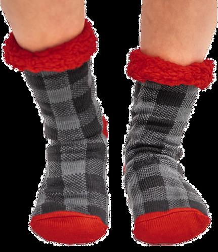 Grey Plaid Plush Socks