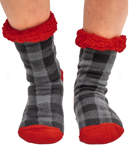 Grey Plaid Plush Socks