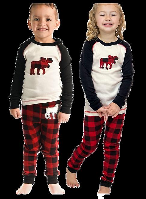 Moose Plaid Youth Pajama Set