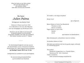 Overlijden Julien Palma