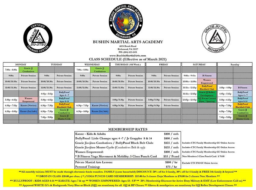 Bushin Class Schedule Member Fees 2021 0