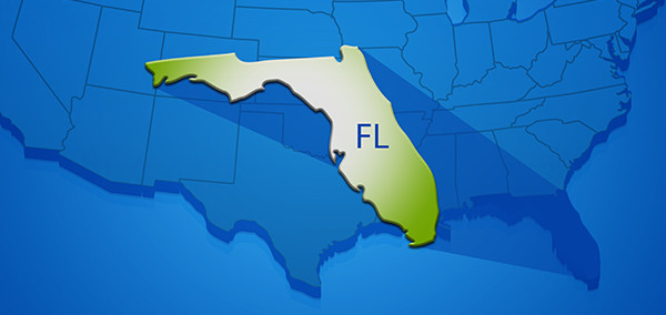 State of FL stands out against map of United States