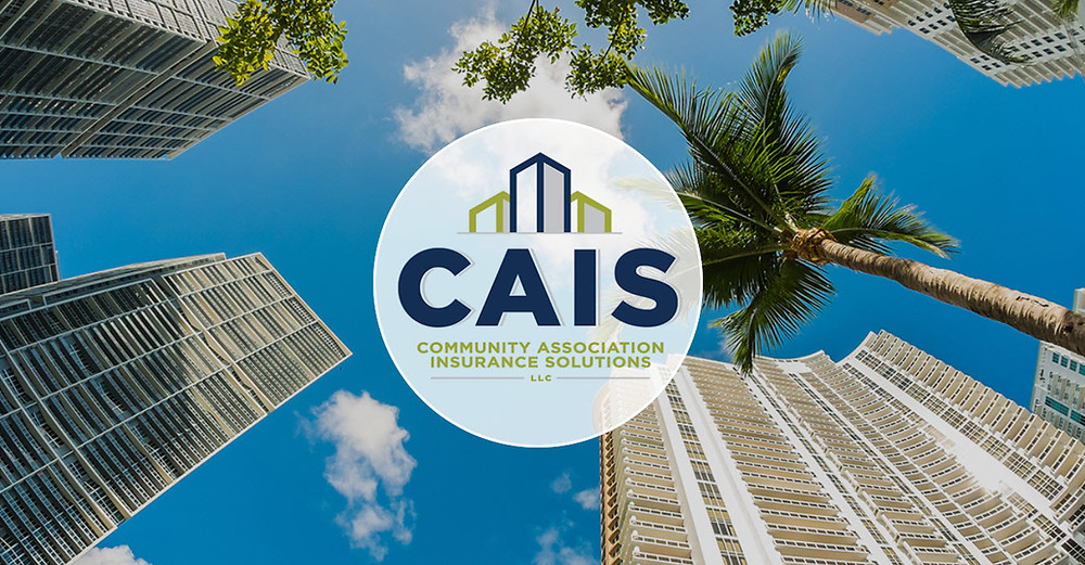 CAIS logo on white circle with image of sky and buildings.