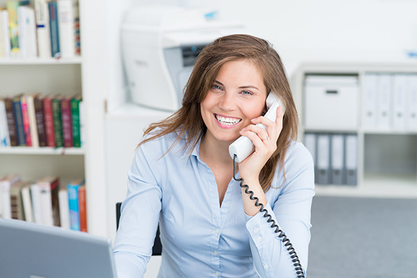 Female employee on phone