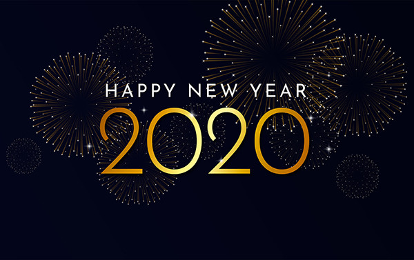 Happy New Year 2020 text in gold with fireworks.