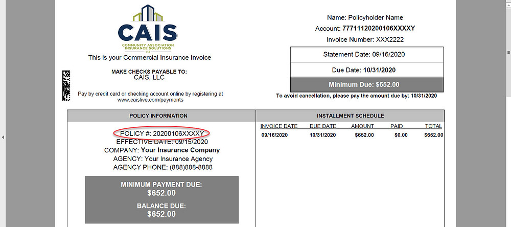 Sample CAIS invoice with policy number circled.