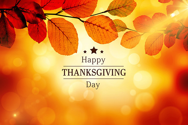 Fall colored leaves and sun rays with the text Happy Thanksgiving Day.