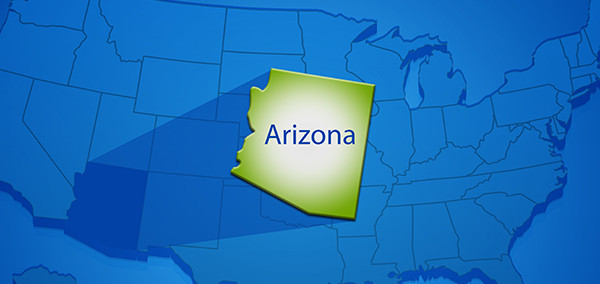 State of AZ over map of United States.
