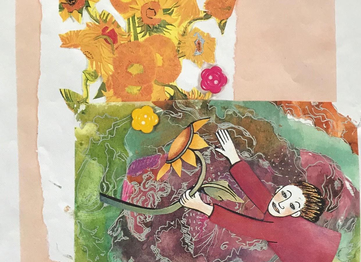 Sunflower, 1995, Collage, 7x7