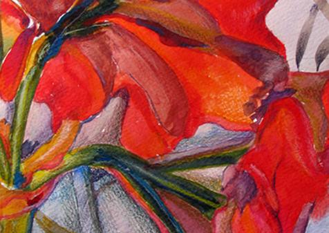 Amarilis II, 2017, Watercolor, 17x14