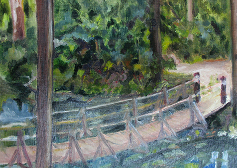 Bridge at Ashokan Pond, 2000, Oil, 16x20 (SOLD). Prints available.