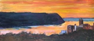 Hudson Sunset, 2020, Acrylic, 11x24