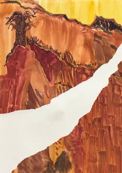 Landscape in Orange, 2019, Monoprint, 21x28