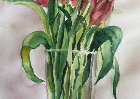 Quarantine Tulips, 2020, Watercolor, 10x14