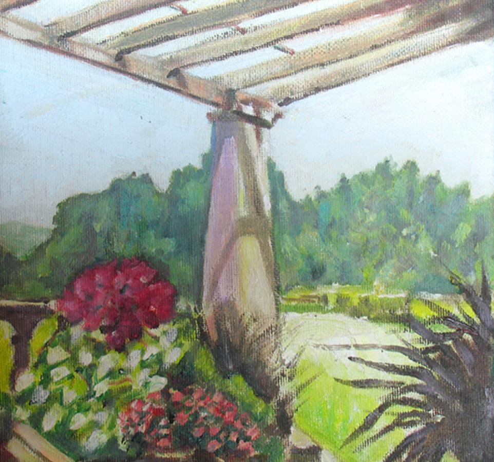 Pergola II, 2014, Oil, 9x9 (SOLD). Prints available.