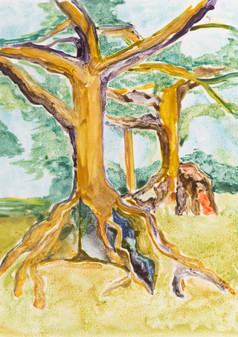 Ceiba II, 2019, Watercolor Monoprint, 21x28