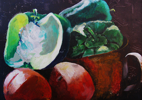 Peppers and Tomatoes, 1972, Oil, 17x21