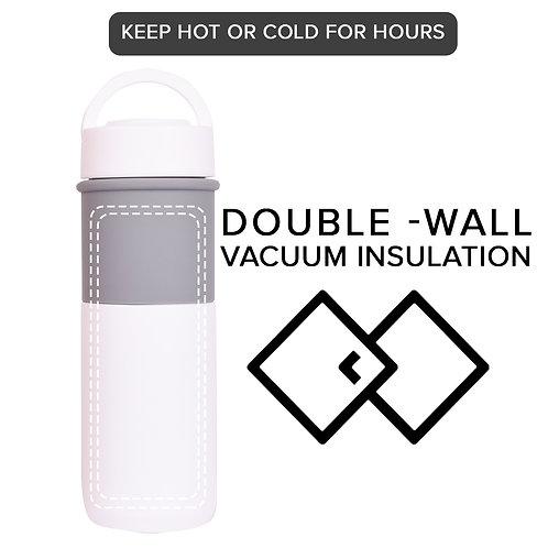 Ceramic Water Bottle Vacuum Flask/Mug with Foldable Handle (White)