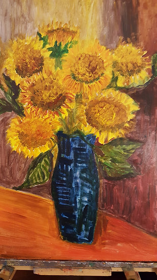 sunflower acrylic and oil mixed