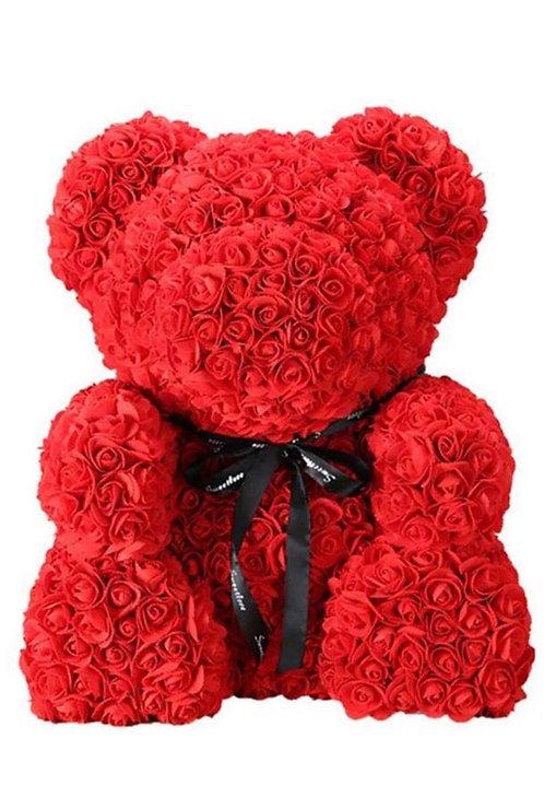 Red/White Foam Rose Bear