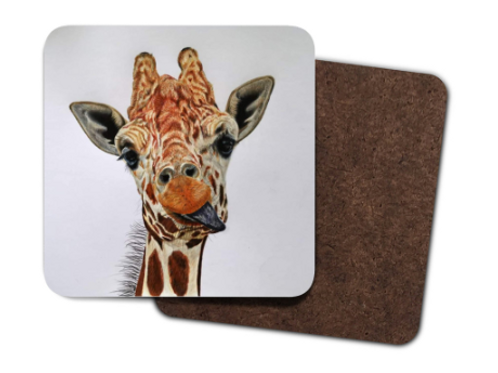 4 Pack Hardboard Coaster with my 'Cheeky giraffe' Artwork