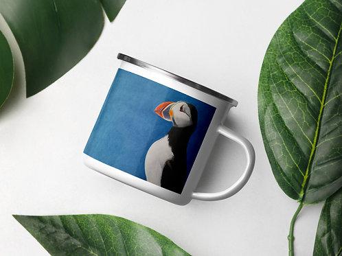 Enamel Mug with my original artwork 'Puffin Stance'