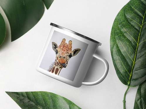 Enamel Mug with 'Cheeky Giraffe' Artwork