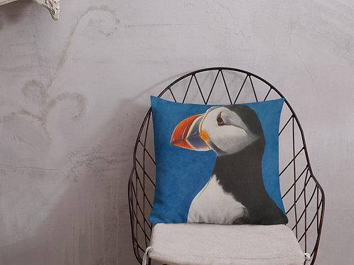 Premium Pillow with my original artwork 'Puffin Stance'