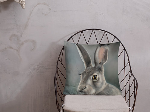 Premium Pillow with my original 'Green hare' Artwork