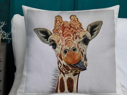 Premium Pillow with 'Cheeky Giraffe' Artwork