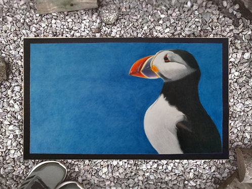 Doormat  with my original artwork 'Puffin Stance'