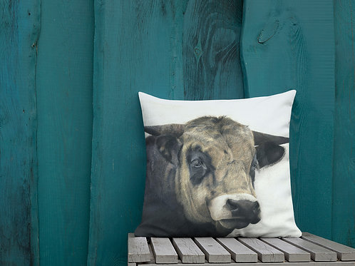 Premium Pillow with my original 'Guinness' the bull artwork
