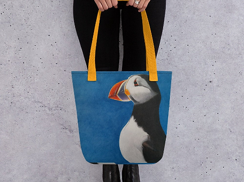 Tote bag with my original artwork 'Puffin Stance'