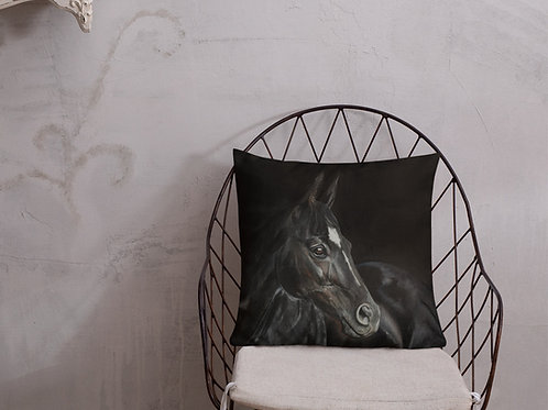 Premium Pillow with my original 'Dark Horse' artwork