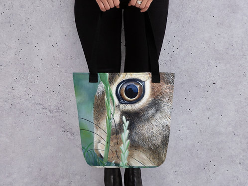 Tote bag with my original 'Hare eye' artwork