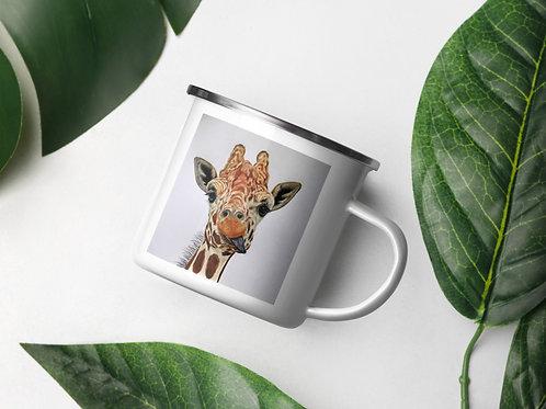 Enamel Mug with 'Cheeky giraffe' Artwork
