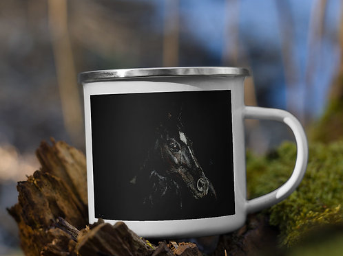 Enamel Mug with my original 'Dark Horse' artwork