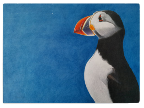 Chopping board with my 'Puffin stance' artwork