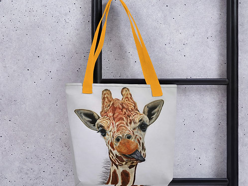 Tote bag with 'Cheeky Giraffe' artwork