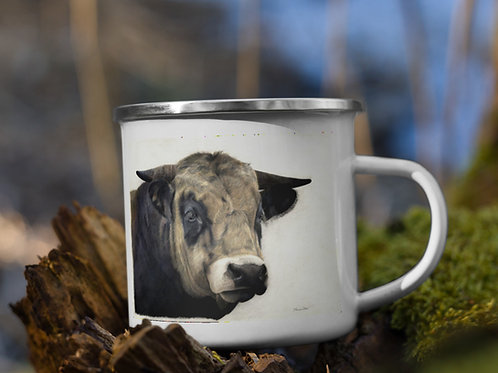 Enamel Mug with my original 'Guinness' the bull artwork