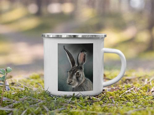 Enamel Mug with my original 'Green Hare' artwork