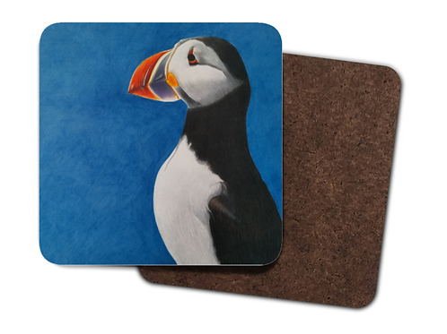 4 Pack Hardboard Coaster with my 'Puffin Stance' artwork