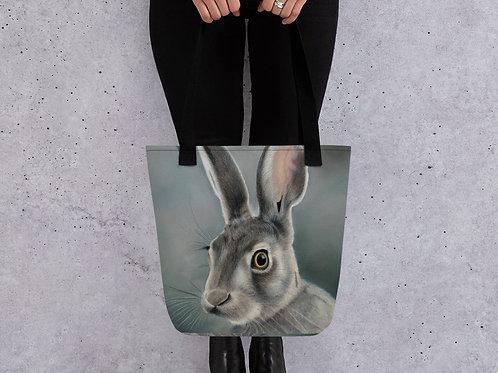 Tote bag with my original 'Green hare' artwork