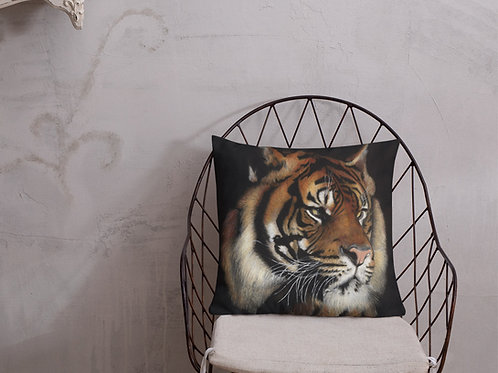 Premium Pillow with my original 'Rajah' Tiger Artwork