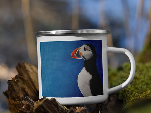 Enamel Mug with my original artwork 'Puffin Stance'