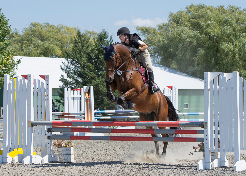 Jenny Adrion and Milo jumping the oxer during stadium.