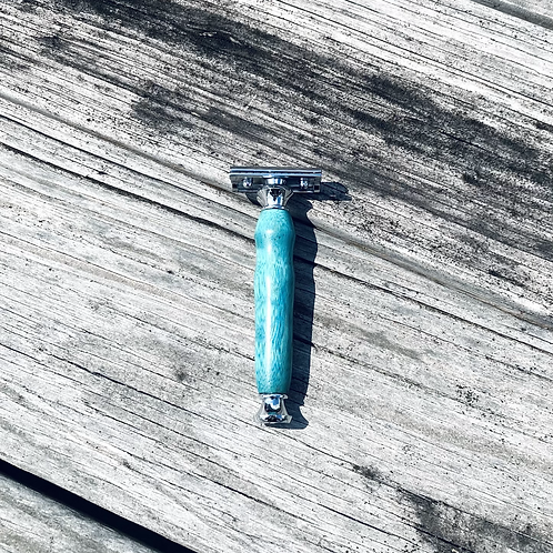 Turquoise Wood DE Safety Razor