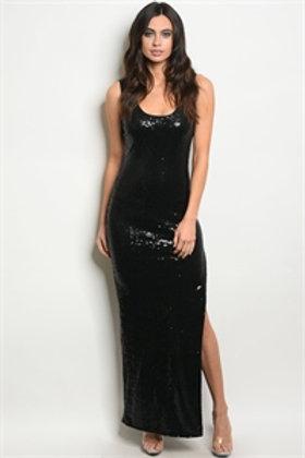 111-3-4-D3260 BLACK WITH SEQUINS DRESS