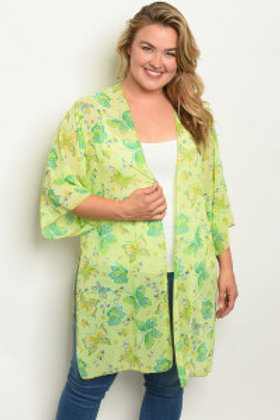 C11-A-1-C1005X LIME WITH BUTTERFLY PRINT PLUS SIZE KIMONO